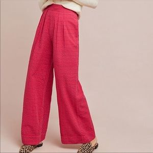 Anthropologie pink checked plaid pants